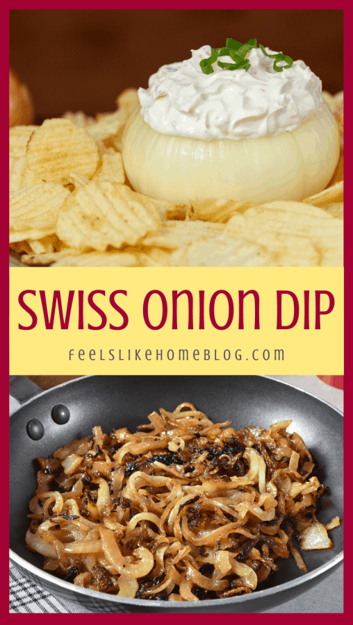 a collage of swiss cheese and onion dip and caramelized onions