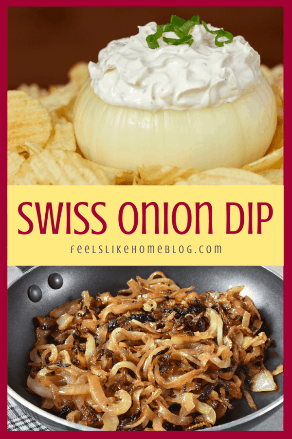 a collage of caramelized onions and swiss cheese and onion dip