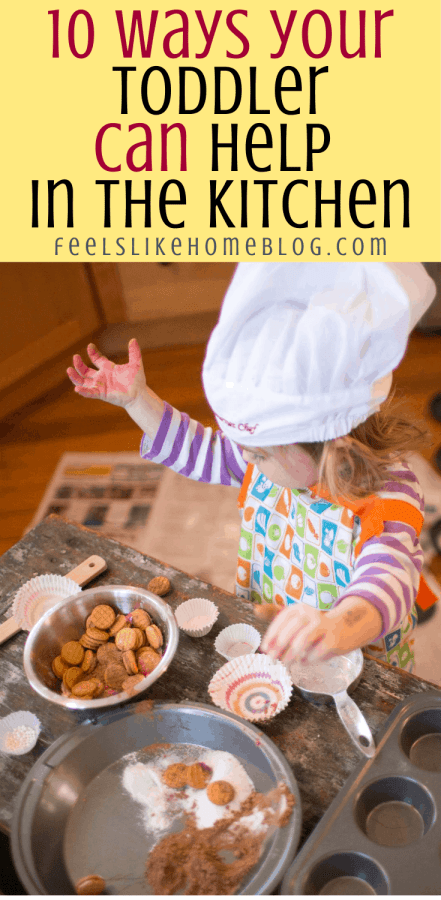 a toddler who is cooking