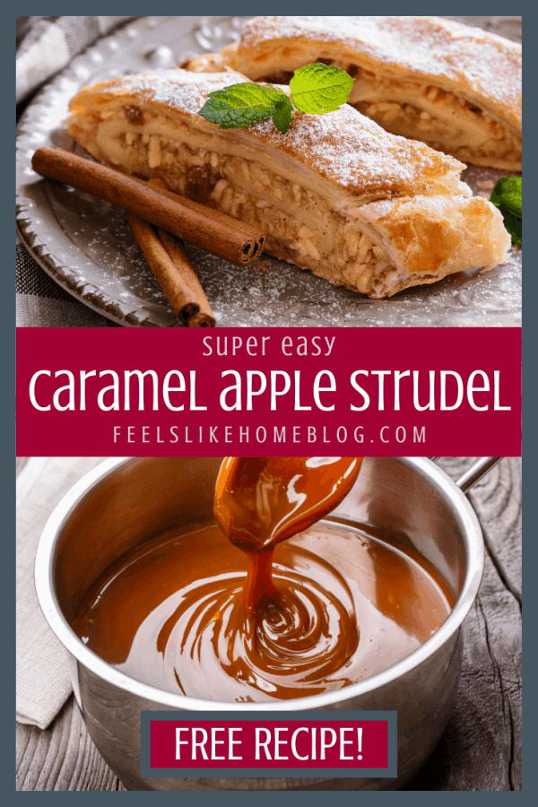 a collage of a strudel with caramel sauce