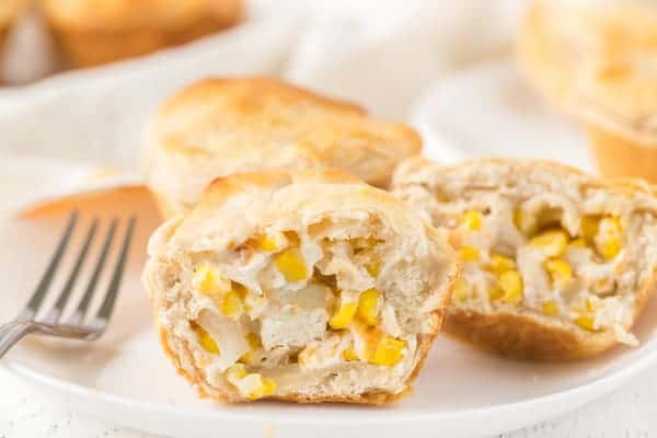 the creamy center of the chicken corn mini pies