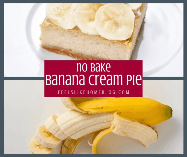 A piece of cream pie next to a banana