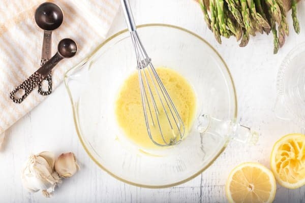 Mimosa vinaigrette with garlic and Dijon mustard