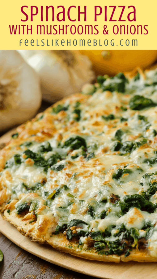 an white pizza with spinach mushrooms onions