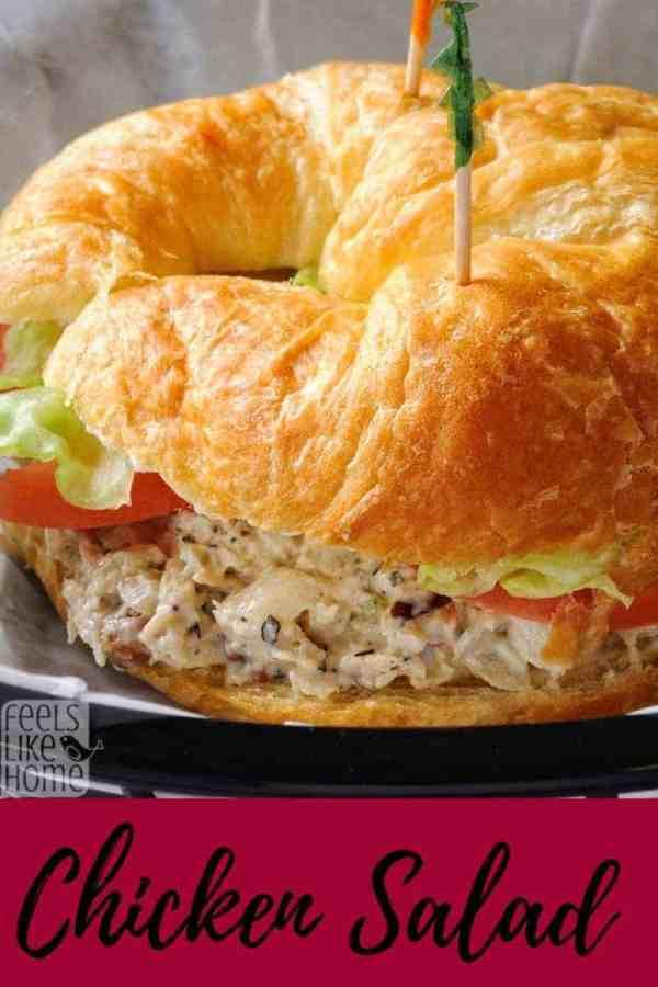 A close up of a chicken salad sandwich