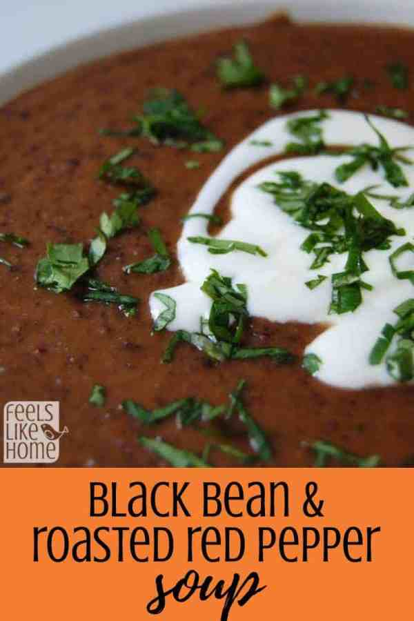The best homemade healthy black bean and roasted red pepper soup - This simple, quick, and easy recipe comes together in about 15 minutes thanks to canned beans and a jar of roasted red peppers. Made from scratch. Vegetarian.