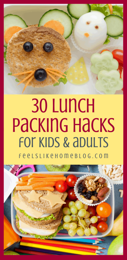 a collage of lunches for kids with faces and shapes