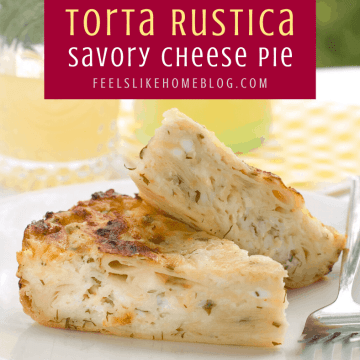 torta rustica on a plate with lemonade