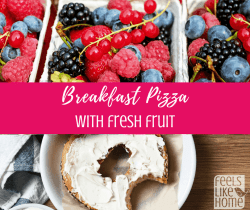 The best breakfast pizza recipe with fresh fruit - This super healthy breakfast pizza recipe is simple and very easy because it uses a mini bagel as the crust. Great for morning, brunch, or lunch.