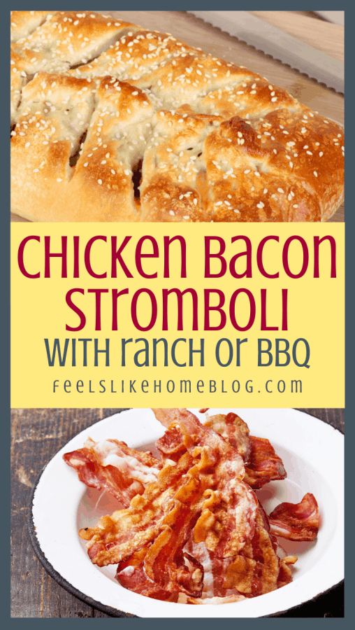 stromboli with chicken and ranch dressing on a cutting board and a bowl of bacon