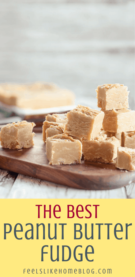 peanut butter fudge stacked on a cutting board