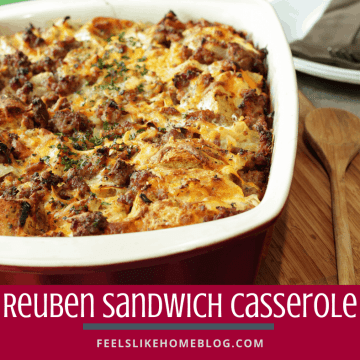Reuben casserole in the baking dish on a cutting board