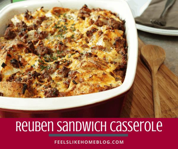 Reuben casserole in the baking dish on a cutting board