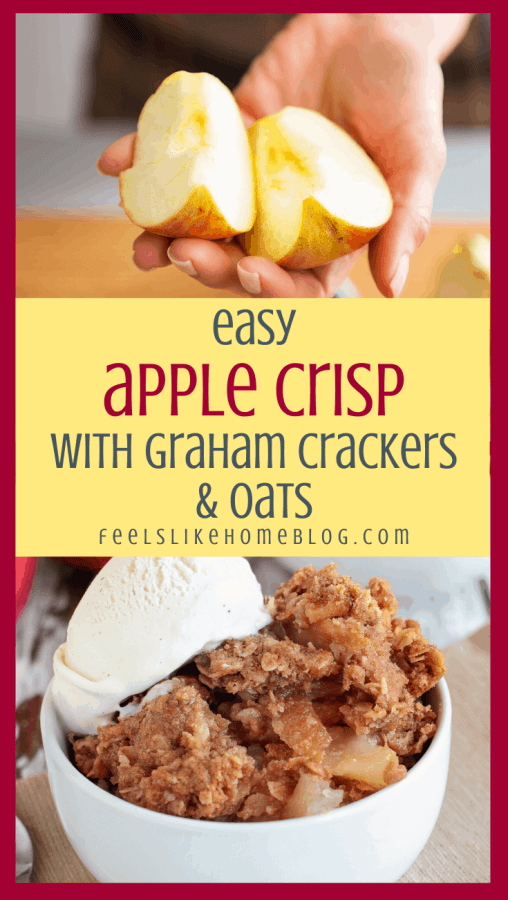 collage of fresh apple wedges and apple crisp in a bowl