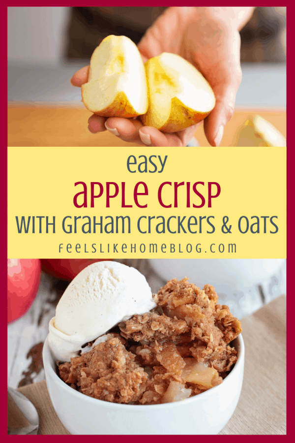 collage of apples and apple crisp with ice cream in a white bowl