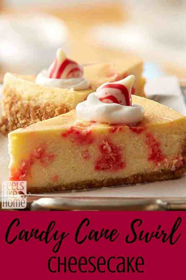 A close up of a piece of cheesecake with peppermint and candy cane
