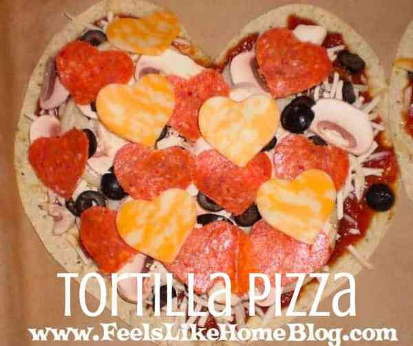 heart-shaped tortilla pizza before cooking