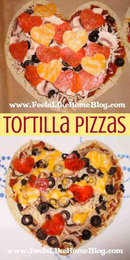 tortilla pizza before and after cooking