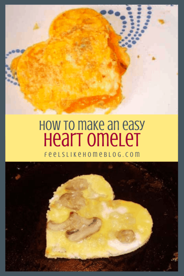 collage of heart shaped omelettes cooked and cooking