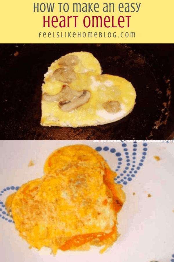 collage of two omelets, with heart shape
