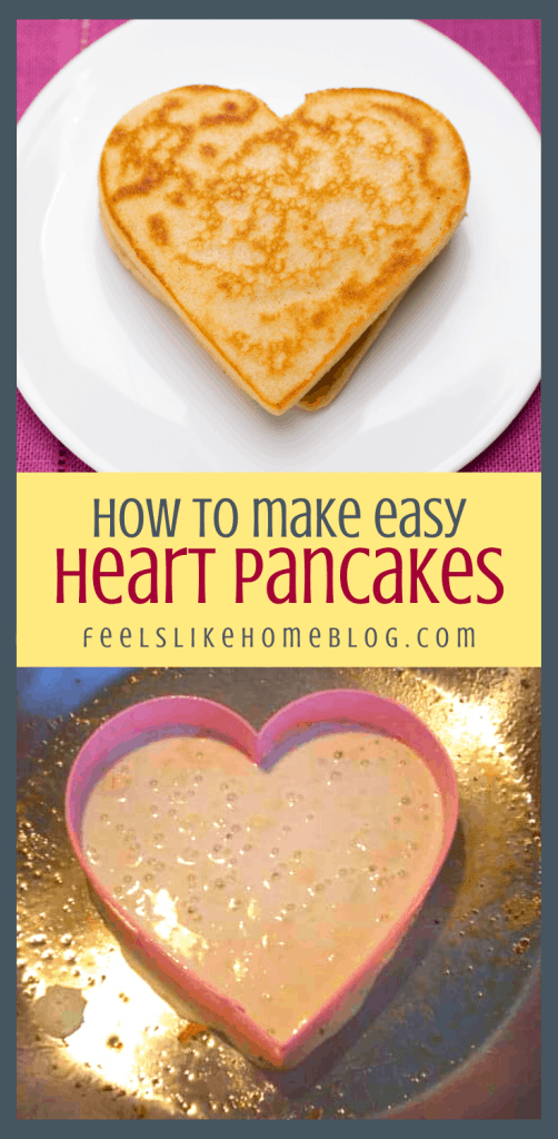 a collage of a pancake in the skillet and on a white plate, with heart shaped