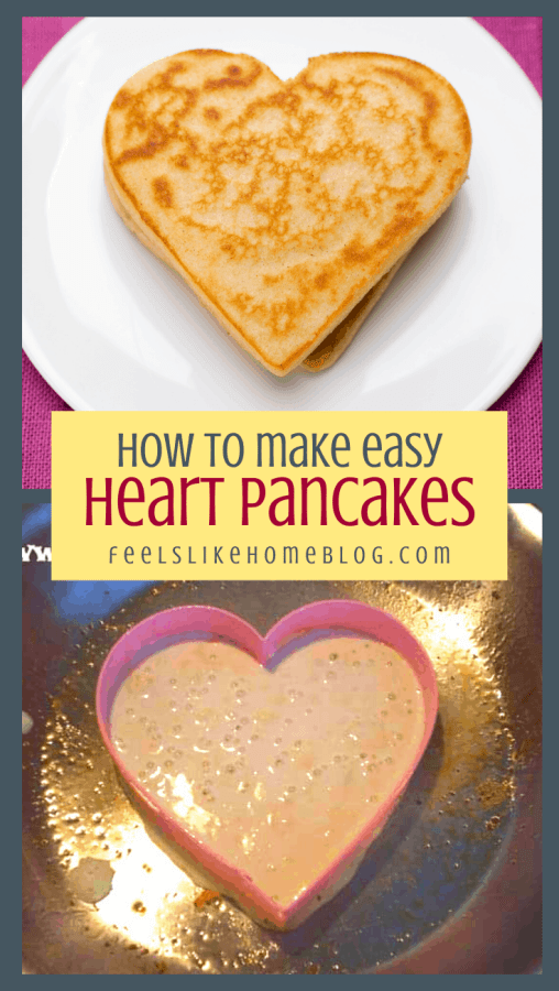 a collage of a pancake in the skillet and on a plate, with hearts