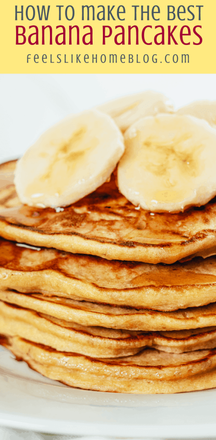 four pancakes with bananas