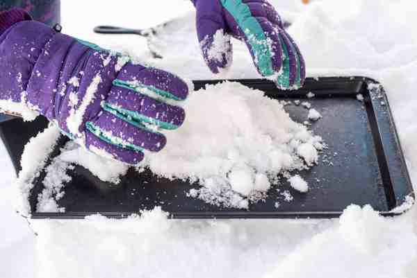 piling snow for snow candy