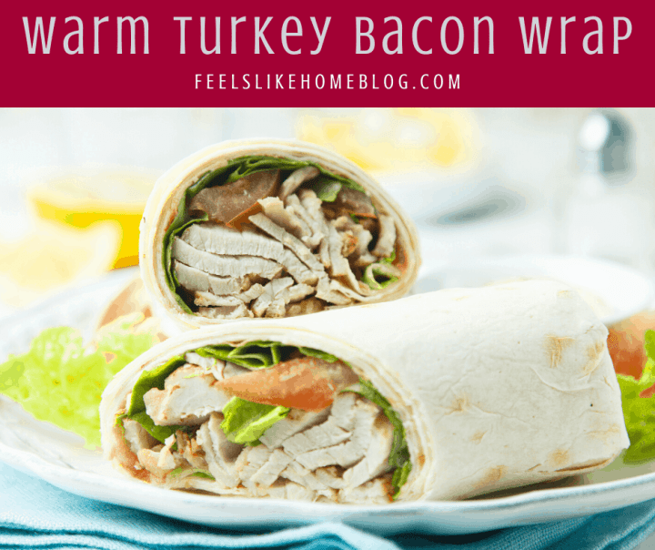 A plate of food, with a warm turkey Wrap