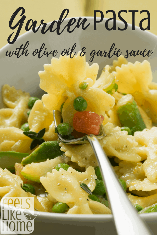 Garden vegetable pasta with olive oil and garlic sauce - Healthy meatless meal using fresh veggies. Simple, quick, and easy. Zucchini, peas, green beans, squash. How to make a homemade dinner with sautéed vegetables.