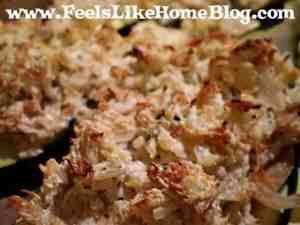 chicken, rice, and cheese-stuffed zucchini