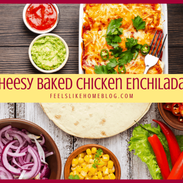 A close up of many different types of food, with Chicken and Enchilada