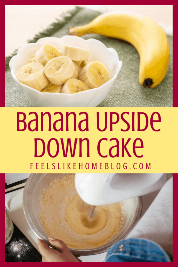 Sliced bananas and a cake being mixed with a mixer