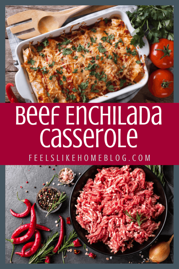 A collage of ground beef and enchiladas in a baking dish