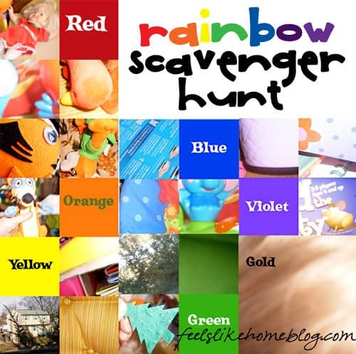 These super easy rainbow scavenger hunt ideas for preschoolers use a simple camera phone for kids to take pictures of items of each color of the rainbow. There are no clues to print, so mom doesn't have any preparation ahead of time. Just give the children the phone or camera and let them go. Great for families. Best for at home or homeschool use.
