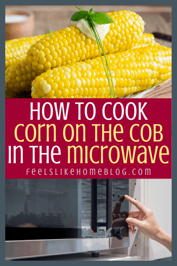 a microwave and corn on the cob with butter