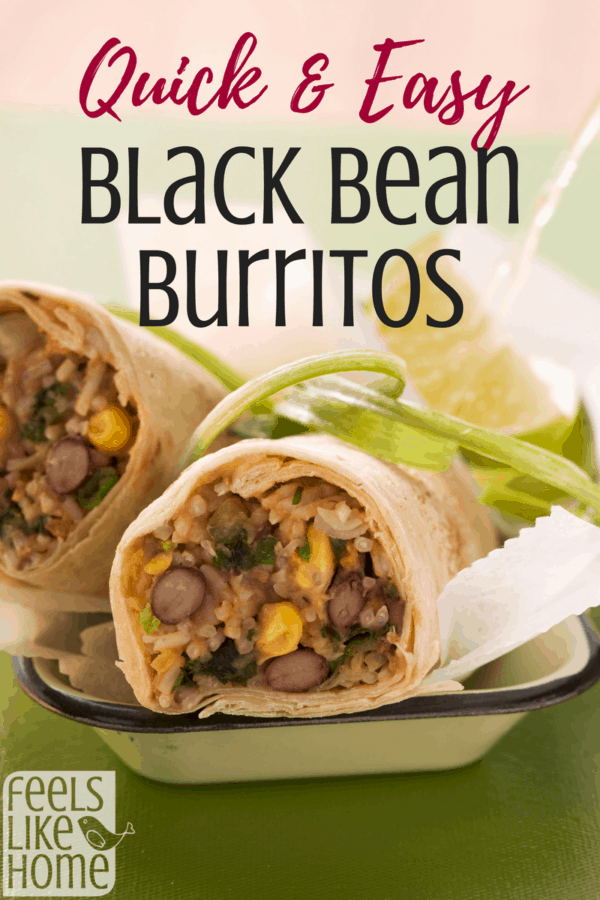 A tray of food, with Burrito and Black Beans