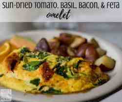 how to make the best simple and easy omelets - This recipe uses sun-dried tomatoes, bacon, basil, and feta cheese to make a mouthwatering omelette that is sure to delight breakfast, brunch, lunch, and dinner crowds! It is healthy and low carb.