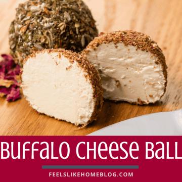 A cheeseball cut in half