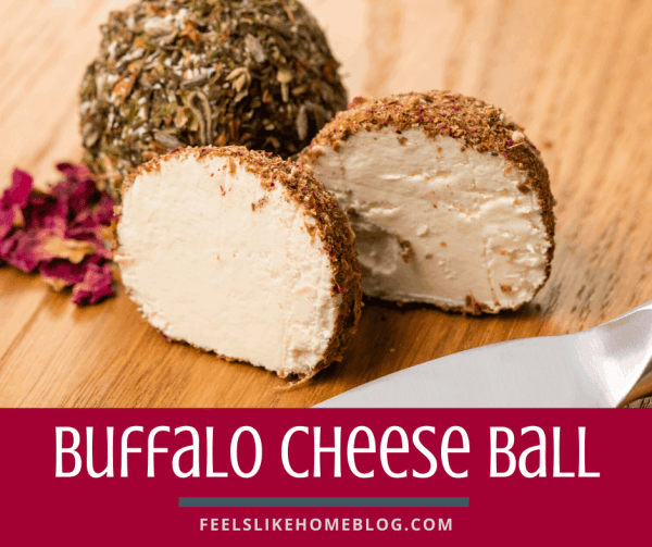 A buffalo cheese ball cut in half