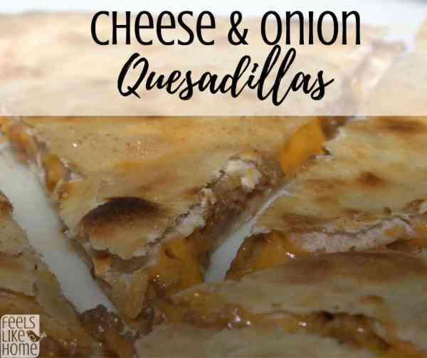 A close up of cheese & onion quesadillas