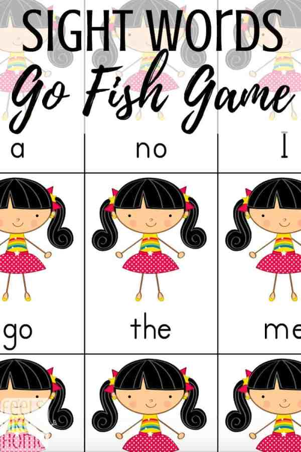 Sight words activities for kindergarten - This simple and easy Go Fish game is free, hands on, and interactive. Can be used by parents or preschool or school teachers. Games like this are a fun way to get in some practice without the drill of flash cards.