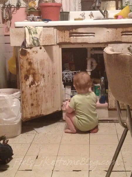 Allie cleaning out under Old Grandma\'s sink