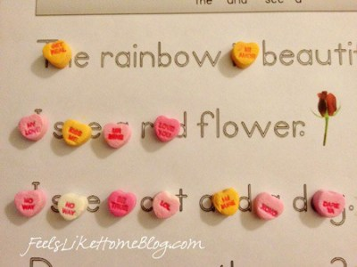 candy hearts activities - sight words