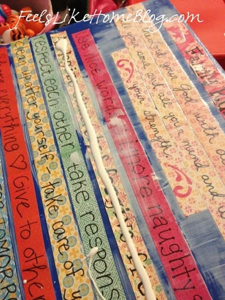 Stick the word strips to the Mod Podge