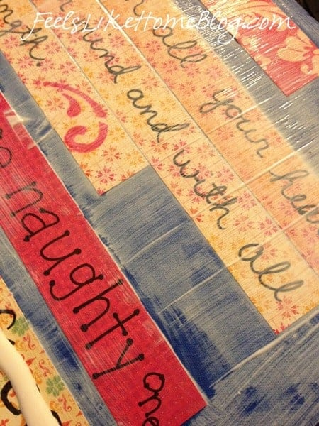 Paint Mod Podge over the word strips
