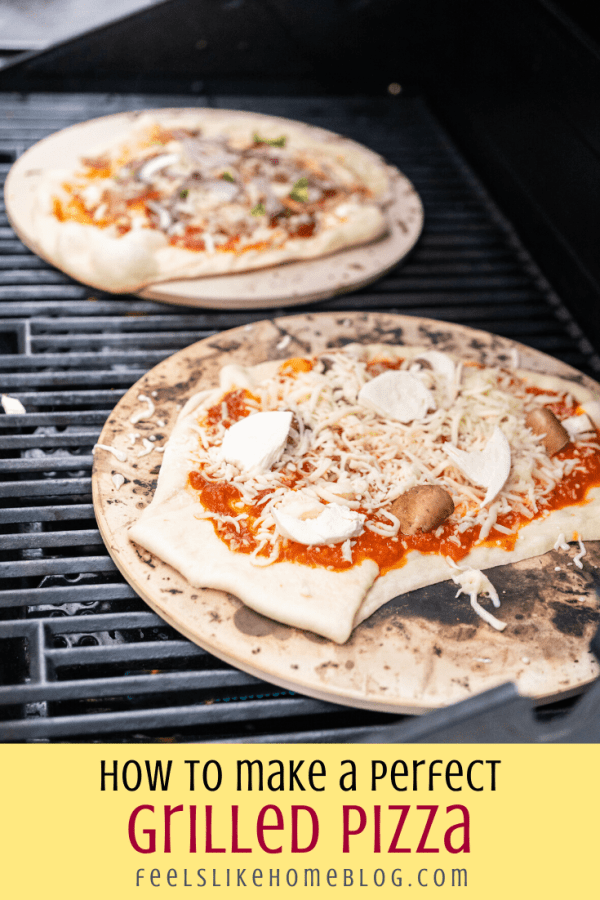 a close up of a pizza on the grill