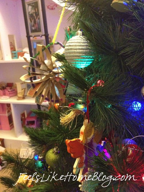 A group of colorful Christmas ornaments