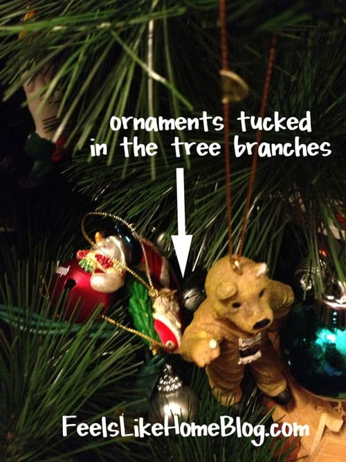 A bunch of Christmas ornaments on display