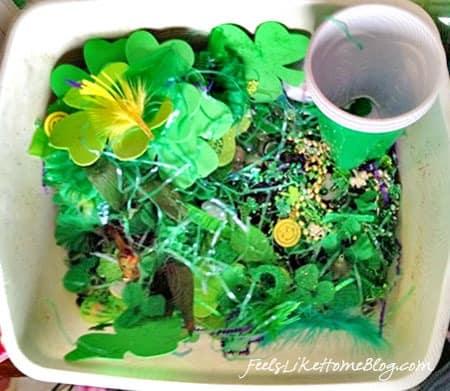 St. Patrick's Day sensory bin